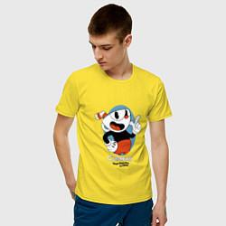 Футболка хлопковая мужская Cuphead Mugman цвета желтый — фото 2