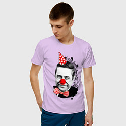 Футболка хлопковая мужская Евгений Петросян клоун цвета лаванда — фото 2
