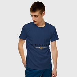 Футболка хлопковая мужская Chrysler logo цвета тёмно-синий — фото 2