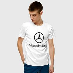 Мужская хлопковая футболка с принтом Logo Mercedes-Benz, цвет: белый, артикул: 10015734800001 — фото 2