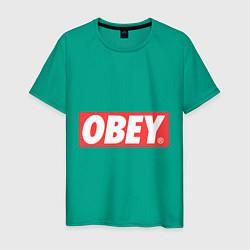 Футболка хлопковая мужская OBEY Logo цвета зеленый — фото 1