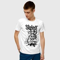 Футболка хлопковая мужская Slipknot Faces цвета белый — фото 2