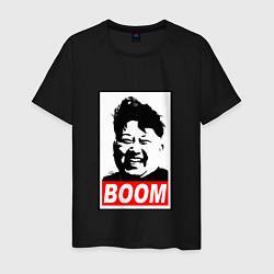 Футболка хлопковая мужская BOOM: Kim Chen Eun цвета черный — фото 1