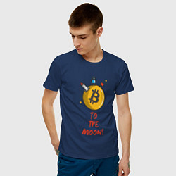 Футболка хлопковая мужская To the moon! цвета тёмно-синий — фото 2