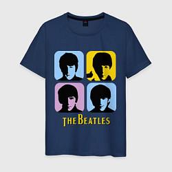 Мужская хлопковая футболка с принтом The Beatles: pop-art, цвет: тёмно-синий, артикул: 10015924700001 — фото 1