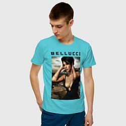 Футболка хлопковая мужская Monica Bellucci: Dress цвета бирюзовый — фото 2
