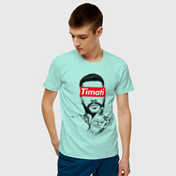 Футболка хлопковая мужская Timati Supreme цвета мятный — фото 2
