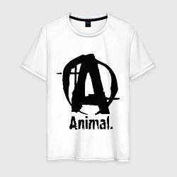 Футболка хлопковая мужская Animal Logo цвета белый — фото 1