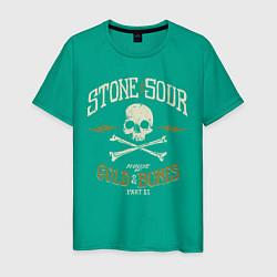 Футболка хлопковая мужская Stone Sour: Gold Bones цвета зеленый — фото 1