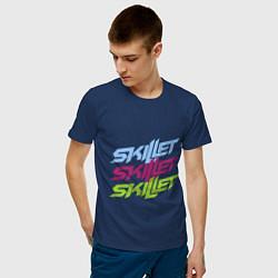 Мужская хлопковая футболка с принтом Skillet Tricolor, цвет: тёмно-синий, артикул: 10017327000001 — фото 2