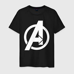 Мужская хлопковая футболка с принтом Avengers Symbol, цвет: черный, артикул: 10176872900001 — фото 1