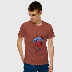 Мужская хлопковая футболка с принтом Spider-man comics, цвет: кирпичный, артикул: 10180525300001 — фото 2