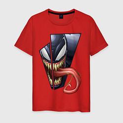 Мужская хлопковая футболка с принтом Venom with tongue sticking out, цвет: красный, артикул: 10184528700001 — фото 1