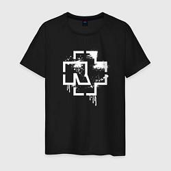 Футболка хлопковая мужская Rammstein: White Logo цвета черный — фото 1