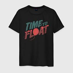 Футболка хлопковая мужская Time to float цвета черный — фото 1