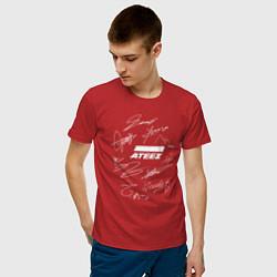 Мужская хлопковая футболка с принтом Ateez, цвет: красный, артикул: 10196139300001 — фото 2