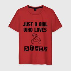 Мужская хлопковая футболка с принтом ATEEZ, цвет: красный, артикул: 10196141900001 — фото 1