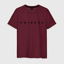 Футболка хлопковая мужская Logo Friends цвета меланж-бордовый — фото 1