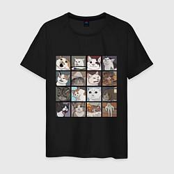 Футболка хлопковая мужская Коты из мемов цвета черный — фото 1
