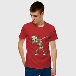 Футболка хлопковая мужская Dab Skeleton цвета красный — фото 2