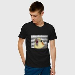 Футболка хлопковая мужская Орущий попугай цвета черный — фото 2