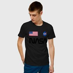 Футболка хлопковая мужская NASA НАСА цвета черный — фото 2