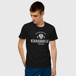 Футболка хлопковая мужская Хабаровск Born in Russia цвета черный — фото 2