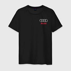 Мужская хлопковая футболка с принтом AUDI, цвет: черный, артикул: 10208286700001 — фото 1