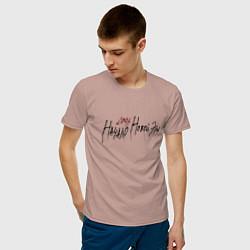 Футболка хлопковая мужская Джизус тур цвета пыльно-розовый — фото 2