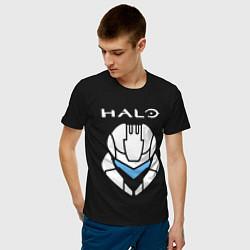 Футболка хлопковая мужская HALO цвета черный — фото 2