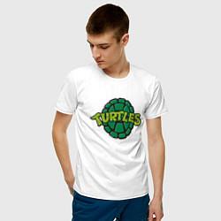 Мужская хлопковая футболка с принтом TURTLES, цвет: белый, артикул: 10214800700001 — фото 2