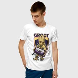 Футболка хлопковая мужская Groot цвета белый — фото 2