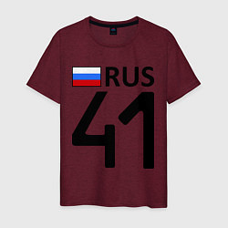 Футболка хлопковая мужская RUS 41 цвета меланж-бордовый — фото 1