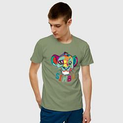 Мужская хлопковая футболка с принтом Simba Colourful, цвет: авокадо, артикул: 10266100700001 — фото 2