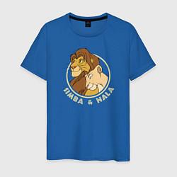 Мужская хлопковая футболка с принтом Симба и Нала, цвет: синий, артикул: 10266116700001 — фото 1