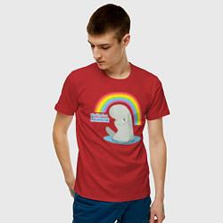 Футболка хлопковая мужская My Life Is A Rainbow цвета красный — фото 2