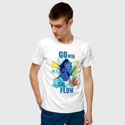 Футболка хлопковая мужская Go With The Flow цвета белый — фото 2