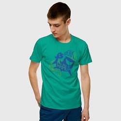 Футболка хлопковая мужская I Speak Whale цвета зеленый — фото 2