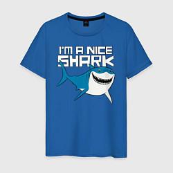 Футболка хлопковая мужская Im A Nice Shark цвета синий — фото 1