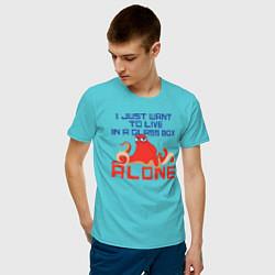 Футболка хлопковая мужская Alone цвета бирюзовый — фото 2
