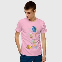 Футболка хлопковая мужская В Поисках Немо цвета светло-розовый — фото 2