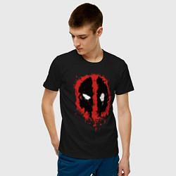 Футболка хлопковая мужская Deadpool logo цвета черный — фото 2