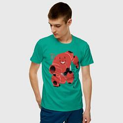 Футболка хлопковая мужская Бэймакс цвета зеленый — фото 2