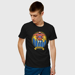 Футболка хлопковая мужская Бэймакс Город Героев 6 цвета черный — фото 2