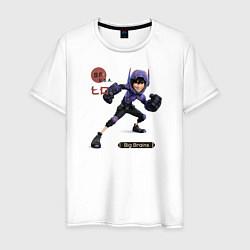 Футболка хлопковая мужская Хиро цвета белый — фото 1