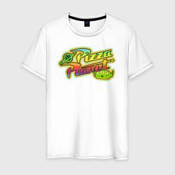 Футболка хлопковая мужская Pizza Planet цвета белый — фото 1