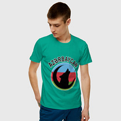 Футболка хлопковая мужская Азербайджан цвета зеленый — фото 2