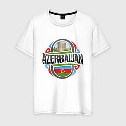 Футболка хлопковая мужская Азербайджан цвета белый — фото 1