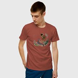 Футболка хлопковая мужская Bambi цвета кирпичный — фото 2