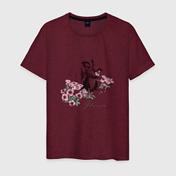 Футболка хлопковая мужская Flower цвета меланж-бордовый — фото 1